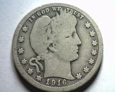Buy 1916 BARBER QUARTER DOLLAR GOOD+ G+ NICE ORIGINAL COIN BOBS COINS FAST SHIP