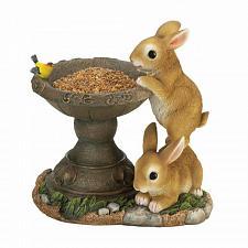Buy Playful Bunnies Bird Feeder Outdoor Decor Figurine