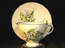 Buy Vintage Teacup and Saucer Queen Anne Fine Bone China Blue Flowers Gilt Trim