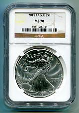 Buy 2015 AMERICAN SILVER EAGLE NGC MS70 CLASSIC BROWN LABEL AS SHOWN PREMIUM QUALITY