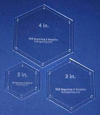 """Buy Hexagon Templates. 2"""", 3"""", 4"""" - Clear- With Guide Holes 1/8"""""""