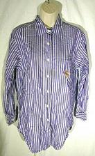 Buy Lauren Ralph Lauren Women's Button Front Shirt Size 4 Crest Purple Green Stripes