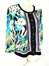 Buy RAFAELLA womens XL 3/4 sleeve blue pink white FLORAL button up STRETCH top (B6)P