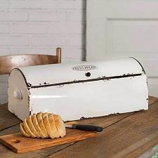 Buy Vintage White Metal Kitchen Bread Box Storage Bin Farmhouse Style Container New