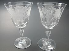 Buy 2 Cut glass goblet stemware Hand cut copper wheel engraved floral PAIR