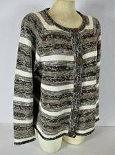 Buy CHRISTOPHER & BANKS womens XL L/S brown white BUTTON DOWN cardigan sweater (C4)