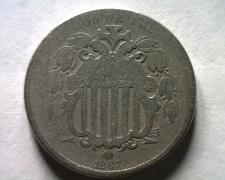 Buy 1867 NO RAYS SHIELD NICKEL GOOD G NICE ORIGINAL COIN FROM BOBS COINS FAST SHIP