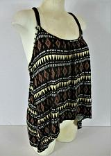 Buy DOTS womens XL sleeveless black brown yellow BEADED halter strap top NWT (B)