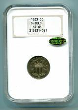 Buy 1883 SHIELD NICKEL NGC MS64 CAC NICE COLOR, ORIGINAL COIN, PREMIUM QUALITY PQ