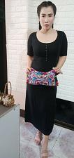 Buy Thai HMONG Hill Tribe Ethnic Rose Floral Embroidered Tote Bag Handbag BM-232