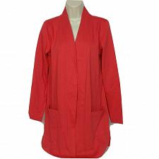 Buy Isaac Mizrahi Live! Essentials Open Front Knit Cardigan XS Tamale Red Pockets