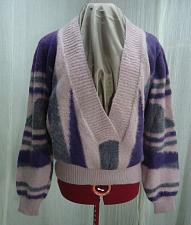 Buy Vintage 80's Mohair Hand Knit Purple Stripe Deep V Neck Sweater Size L