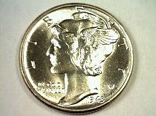Buy 1943 MERCURY DIME GEM UNCIRCULATED GEM UNC. NICE TONED REVERSE COIN BOBS COINS