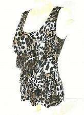 Buy IZ BYER womens Small brown white ANIMAL print BLACK LACE accents TIERED tank (J)