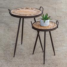 Buy New Set 2 Decorative Wooden Top Bistro Tables Patio Garden Deck Indoor Outdoor