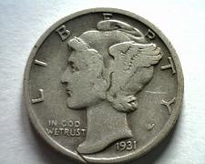 Buy 1931 MERCURY DIME VERY FINE+ VF+ NICE ORIGINAL COIN BOBS COINS FAST SHIPMENT