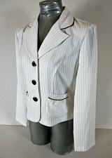 Buy DONUTZ INC womens Sz 7 juniors L/S white PINSTRIPED button down jacket (C2)