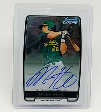 Buy MLB MILES HEAD OAKLAND A'S AUTOGRAPHED 2012 BOWMAN CHROME BASEBALL MNT