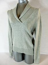Buy JEANNE PIERRE womens Medium L/S gray 100% cotton V NECK sweater (A5)P