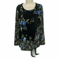 Buy Susan Graver Printed Liquid Knit Top with Side Tie Size Medium Floral
