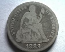 Buy 1889 SEATED LIBERTY DIME GOOD G ORIGINAL COIN FROM BOBS COINS FAST SHIPMENT