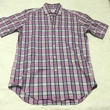 Buy DAVID DONAHUE Sz M Regular Fit Short Sleeve Shirt Purple Plaid - NWOT