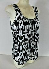 Buy ANA womens Medium sleeveless black white KEYHOLE BACK NECK semi sheer top (Q)
