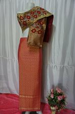 Buy Magenta Pink Thai Lanna Synthetic Silk sinh Skirt Pha Bieng Tailor to your size