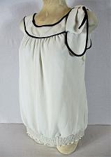 Buy AB Studio womens XL sleeveless white black ELASTIC hem lined stretch top (N)