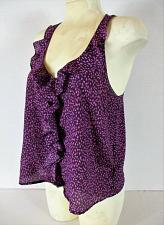 Buy I LOVE H81 womens Medium sleeveless purple pink RUFFLE FRONT button up top (L)