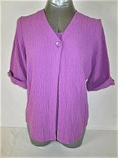 Buy APPARENZA womens Large 3/4 SLEEVE LAVENDER 2 PC LOOK CRINKLED STRETCH TOP (M)