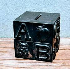 Buy Vintage Building Block Metal Learning Collector's Coin Bank Rare