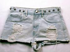 Buy Forever 21 Women's Booty Jean Shorts Size 27 Solid Blue Studded Distressed