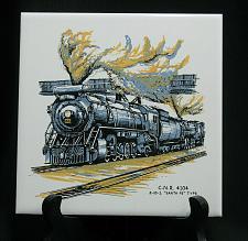 "Buy Vintage Train Railroad Railway Tile Trivet Plaque Employee 6"" CN 4104 Santa Fe"