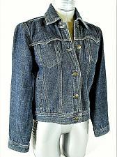 Buy LIZ CLAIBORNE womens Small petite L/S blue 4 pocket DENIM button jacket (A2)P