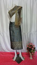 "Buy Gray Lao Laos Synthetic Silk sinh Wrap Skirt Pha Bieng for Songkran Waist 29"""