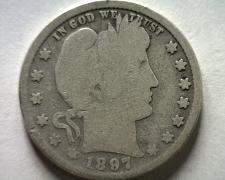 Buy 1897 BARBER QUARTER DOLLAR GOOD+ G+ NICE ORIGINAL COIN FROM BOBS COINS FAST SHIP