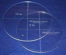 """Buy Circle Template with Seam Allowance 2 Piece Set. 9"""", 10"""" - Clear ~1/4"""" Thick"""