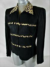 Buy JESSICA HOWARD womens Sz. 8 L/S black ANIMAL PRINT TRIM blazer jacket (A8)P