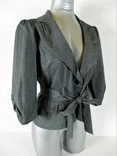 Buy MY MICHELLE womens Large 3/4 sleeve gray 2 button BELTED jacket (A5)