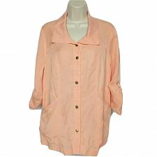 Buy NWT Chicos Womens Utility Jacket Size 0 Small Orange Twill Short Sleeve