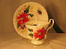 Buy Vintage Teacup and Saucer Royal Albert Poinsettia Fancy Gilt Christmas