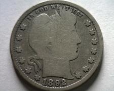 Buy 1892 BARBER QUARTER DOLLAR GOOD+ G+ NICE ORIGINAL COIN FROM BOBS COINS FAST SHIP