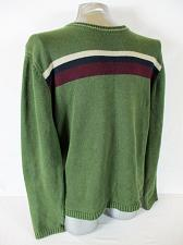 Buy RUE 21 mens Large green maroon blue tan STRIPED cotton blend sweater (A7)