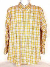 Buy Faconnable Men's Dress Shirt Size Large Gold White Plaid Button Collar