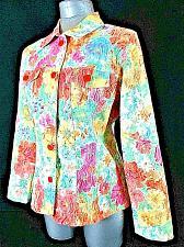 Buy JONI B womens Medium L/S pink orange blue FLORAL button up TEXTURED jacket (B3)P