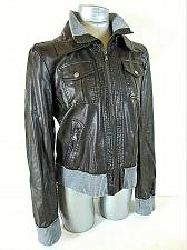Buy EXPRESS womens Large L/S brown FAUX LEATHER full zip 4 pocket LINED jacket (X)P