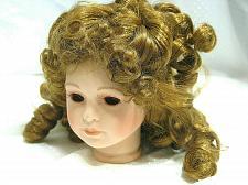 """Buy Vintage Bisque Porcelain Doll Head Flange style 4 1/8"""" No Eyes Long Spiral Curls"""