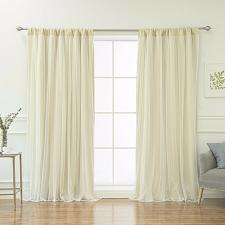 Buy Tulle Overlay Blackout Rod Pocket Thermal Window Curtains Drapes Bedroom Decor
