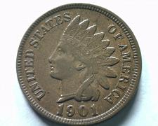 Buy 1901 INDIAN CENT PENNY CHOICE ABOUT UNCIRCULATED+ CH. AU+ NICE ORIGINAL COIN